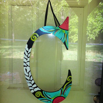 Funky Painted Wood Letter Door Hanger