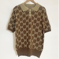 GUCCI New Popular Women Leisure Letter Jacquard Lapel Knit Short Sleeve T-Shirt Top Coffee I12646-1