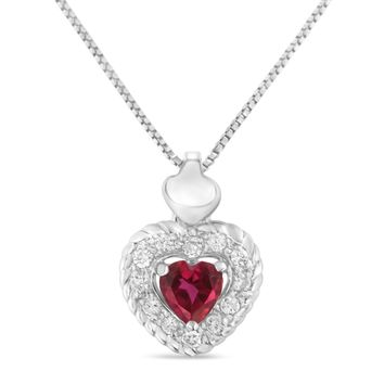 Sterling Silver 0.34ct TDW Ruby Heart and Diamond Heart Shape Pendant Necklace (I-J,I2-I3)