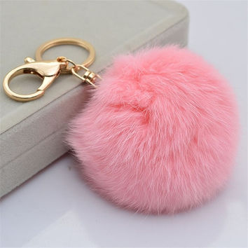 Rabbit Fur Ball PomPom Cell Phone Car Keychain Pendant Handbag Charm Key Ring = 1932715780