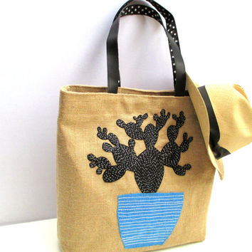 Cactus jute tote bag, hand embroidered, applique with leather straps, handmade summer bag
