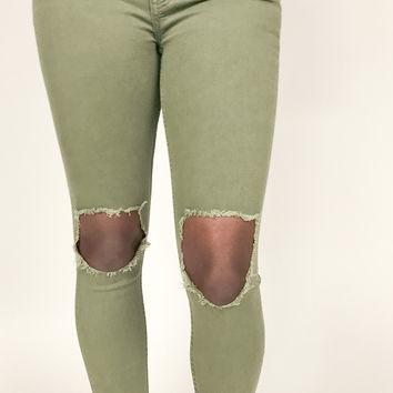 Free People Busted Skinny Jeans - Moss