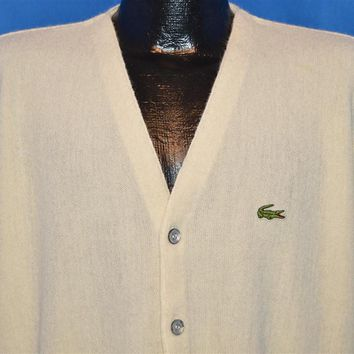 80s Izod Lacoste Off White Cardigan Sweater Large