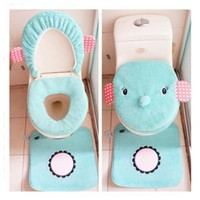 Rilakkuma Cute Mint Green Elephant Toilet Seats Cover Set of 3