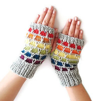 Knitting Pattern PDF Fingerless Gloves, rainbow, honeycomb PDF Pattern, PDF Knitting pattern