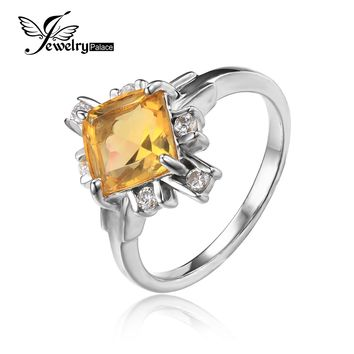 JewelryPalace 2.2ct Yellow Square Genuine Citrine White Rock Crystal Cocktail Ring 925 Sterling Silver Fine Jewelry For Women