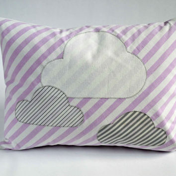 Cushion / Pillow Cover Machine Embroidered 'Rain Cloud' design made from upcycled and vintage fabric