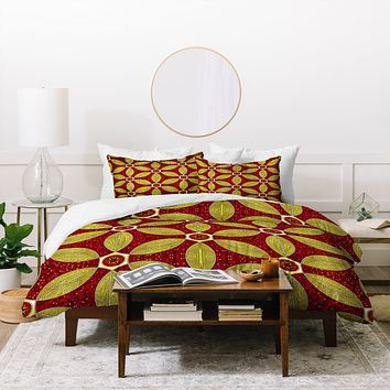 Raven Jumpo Ruby Amber Mosaic Duvet Cover