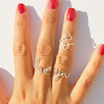 Fashionable Handwork Letter LOVE YOU Heart Rings
