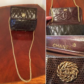 Authentic Vintage CHANEL Quilted Brown Snakeskin Shoulder Bag Clutch Handbag