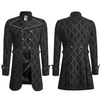 Punk Rave Mens Gothic Coat Jacket Black Damask Steampunk VTG Regency Aristocrat S-4XL