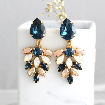 Blue Navy Earrings, Bridal Earrings, Blue Chandeliers, Blue White Opal Chandelier, Dark Blue Champagne Swarovski Bridal Chandelier Earrings
