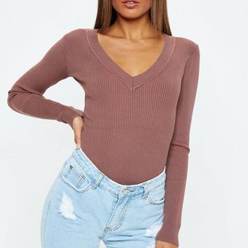 Missguided - Mocha Ultimate Plunge Knitted Bodysuit