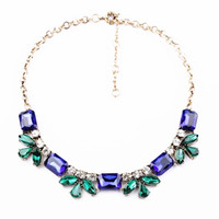 Crystal White Faux Gem Stone Oversize Necklace