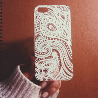 White Paisley hand painted phonecase