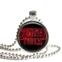 Stranger Things Logo Silver Plated Picture Pendant Necklace