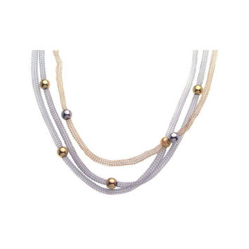 .925 Sterling Silver Gold & Rhodium Plated Bead 3 Strand Pendant Necklace 18 Inches