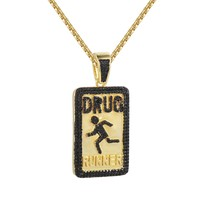 Drug Runner 14k Gold Finish Black Iced Out Dog Tag Pendant