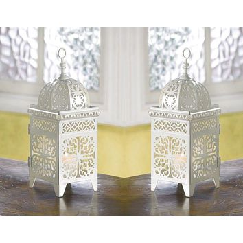 Set of 2 White Scrollwork Candle Lanterns