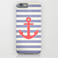 Vintage Aqua Marine Red Anchor Print iPhone & iPod Case by RexLambo | Society6