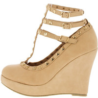 TINA8 NUDE T-STRAP STUDDED WEDGE