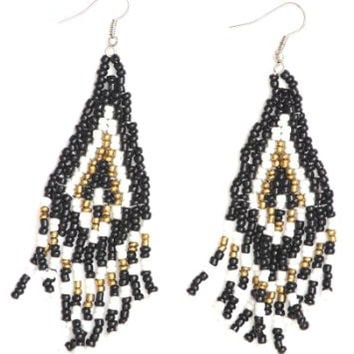 Beaded Native Fringe Chandelier Earrings ED32 Dangling Tribal Statement Fashion Jewelry
