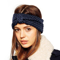 Blue Wool Mixed Turban Headband