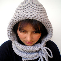 Double Spirit  Knit Hood Super soft Mixed   wool Woman  Hooded CowlClear Grey Chunky Hoodie