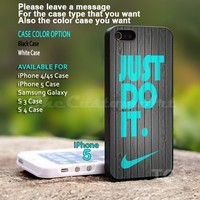 Wood NIKE Just Do It Wood - For iPhone 5 Black Case Cover