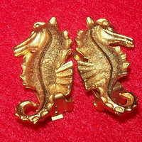 "Seahorse Clip On Earrings Gold Plated Metal Nautical Beach 1 1/4"" Vintage"