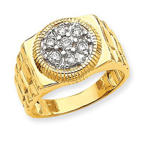 14k Yellow Gold Polished Mens 1/4ct. Diamond Ring