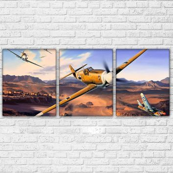 Wall Art HD Print Military Airplane Poster 3 Panel Jet Aircraft Vintage Plane