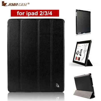 Jisoncase Brand Case For iPad 2 3 4 Leather Case PU Protective Smart Cover Case for iPad 2 3 4  New Free Shipping Covers & Cases