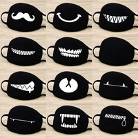 Women Trendy Cotton Face Masks Pattern Solid Black Mask Fashion Cute Half Face Mouth Muffle for Winter Autumn