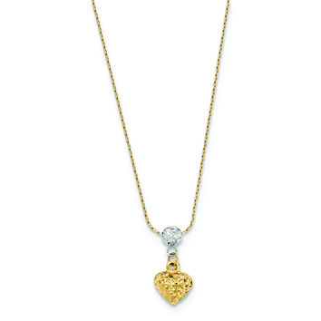 14K Two Tone Diamond Cut Puffed Heart Necklace SF2276