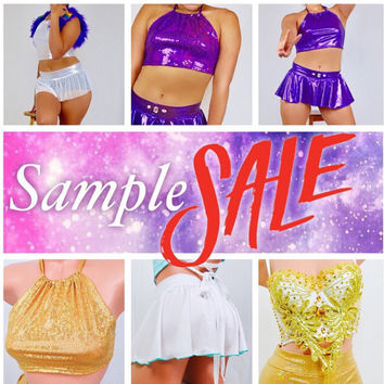 Halter tops, skirt and rave bustier sample sale / EDC / burning man / rave wear