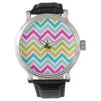 Bright Colorful Chevron Stripes Pattern Wristwatches