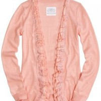 Girls Clothing | Sweaters | Ruffle Lace Cardigan | ShopJustice.com