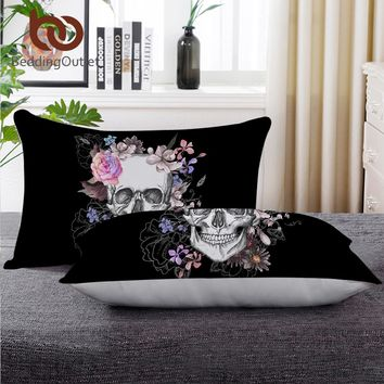 Skull Sleeping Down Alternative Pillow Floral Printed Throw Body Pillow For Neck 50x75cm Cool Bedding