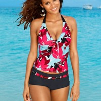 Floral print beach tankini bikini  swimsuit bathing suit set