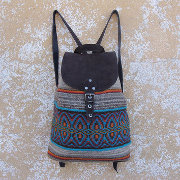 Boho backpack, handwoven wool backpack, brown suede leather backpack, school backpack, holiday backpack, college backpack, kilim backpack