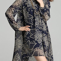 Blue Floral Printed Long Sleeve Mini Dress