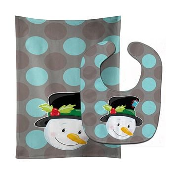 Christmas Snowman Baby Bib & Burp Cloth BB8671STBU