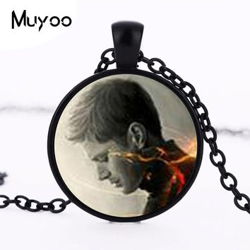 Steampunk Supernatural Dean Necklace Supernatural Dean Pendant Jewelry Glass Cabochon Necklace Pendant Women Men Chain Gift HZ1