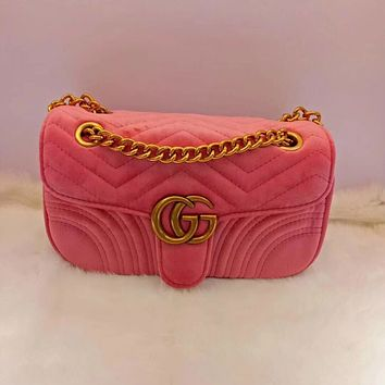 Gucci Women Metal velvet Chain Shoulder Bag Satchel