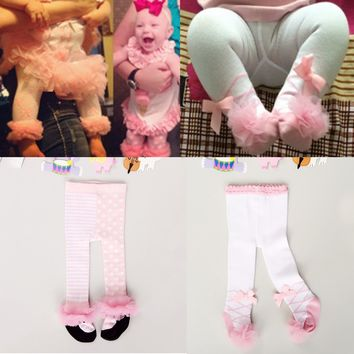 0-24M Winter Autumn Newborn Baby Girl Tights Cotton Bow Lace Dance Stocking Pantyhose Infantil Clothes Ballet Tights Princess