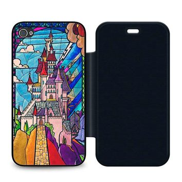 Beauty and the Beast Castle Leather Wallet Flip Case iPhone 4 | 4S