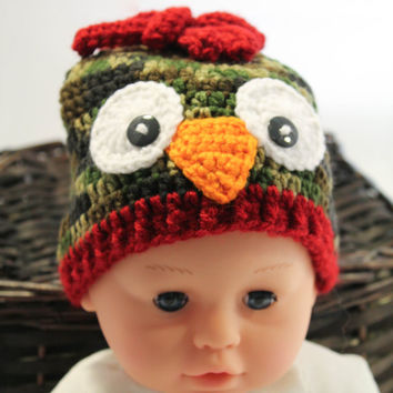Crochet Hat - Children's Hat - Owl Hat - Green Camo with Red - Newborn to 6 months - Winter Toboggan Hat