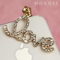 ip11 Cute LOVE Dust Proof Phone Plug Cover Charm For iPhone 4 4S Cell Phone