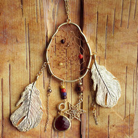 Couture Gold Birds Nest Dreamcatcher Necklace Dream Catcher One of a Kind 27""